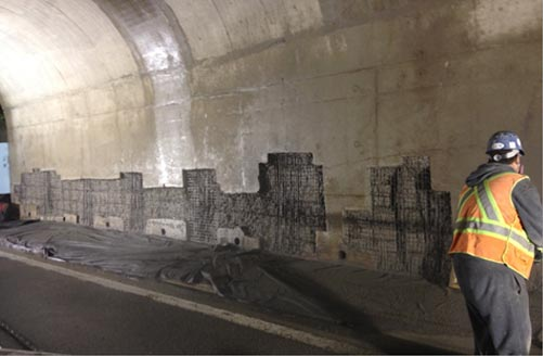 HWY 401 and HWY 62 Underpass Rehabilitation - Bridge abutment walls prior to shotcrete application