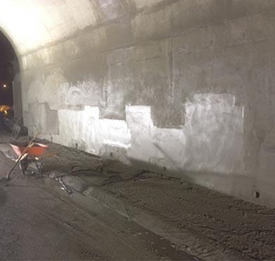 HWY 401 and HWY 62 Underpass Rehabilitation - Bridge abutment walls following shotcrete application