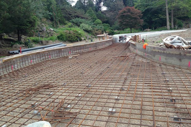 Royal Botanic Gardens - Reinforcing steel placement in progress for final placement phase