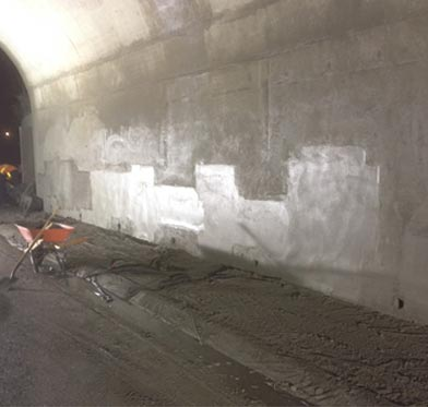 HWY 401 and HWY 62 Underpass Rehabilitation - Bridge abutment walls following shotcrete application