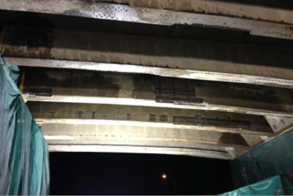HWY 401 and HWY 62 Underpass Rehabilitation - Bridge girders prior to shotcrete application