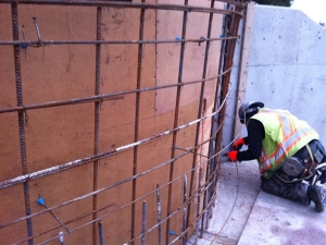 HCM Shotcrete - Pencil rod used to layout radial wall.